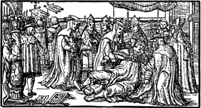 Her er paven så i fuld gang med at føde sit barn. Træskæring af  Giovanni Boccaccio ca 1353, kan ses på British Museum.